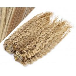 53 cm lockige REMY Clip In Deluxe Haare - helle Strähnchen