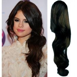"Clip in ponytail wrap / braid hair extension 24"" wavy – natural black"