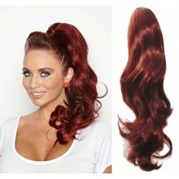 """Clip in ponytail wrap / braid hair extension 24"""" wavy – copper red"""