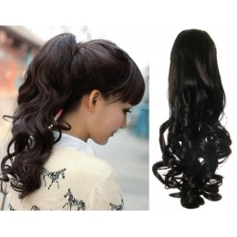 """Clip in ponytail wrap / braid hair extension 24"""" curly – natural black"""