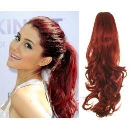 """Clip in ponytail wrap / braid hair extension 24"""" curly – copper red"""