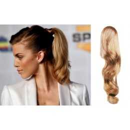 """Clip in ponytail wrap / braid hair extension 24"""" wavy – natural/light blonde"""