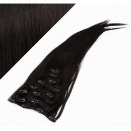 70cm REMY Clip In Haar - schwarz natürlich