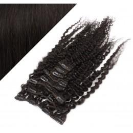 50cm lockige REMY Clip In Haare - schwarz natürlich