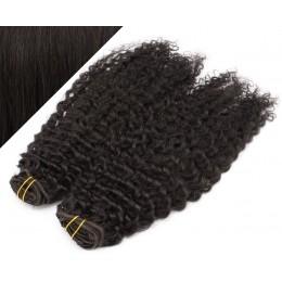 53 cm lockige REMY Clip In Deluxe Haare - schwarz natürlich