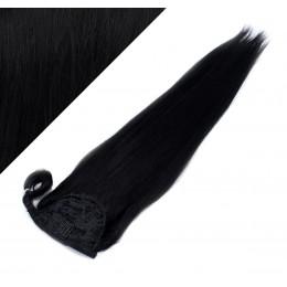 Gerade Clip Pferdeschwanz/Zopf, 100% Remy Menschenhaar, 50 cm - schwarz