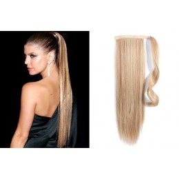 "Clip in human hair ponytail wrap hair extension 20"" straight - natural blonde"