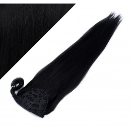 Gerade Clip Pferdeschwanz/Zopf, 100% Remy Menschenhaar, 60 cm - schwarz