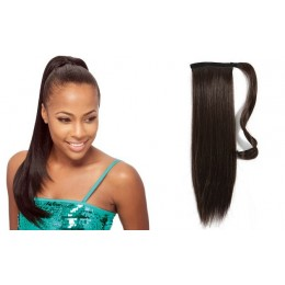 "Clip in human hair ponytail wrap hair extension 24"" straight - dark brown"