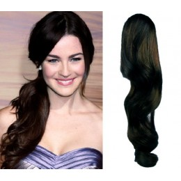 "Clip in human hair ponytail wrap hair extension 20"" wavy - natural black"