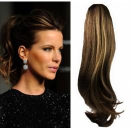"Clip in human hair ponytail wrap hair extension 24"" wavy - dark brown/blonde"