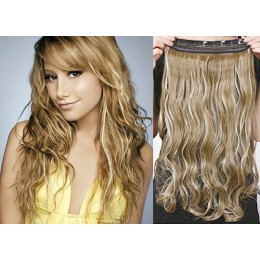 24˝ one piece full head clip in hair weft extension wavy – black