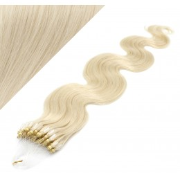 50cm Wellige Micro ring/easy loop haare REMY – platin