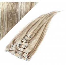 60cm REMY Clip In Haar - platin/hellbraun