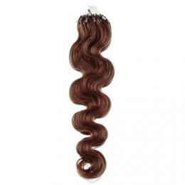 60cm Wellige Micro ring/easy loop haare REMY – helleres braun
