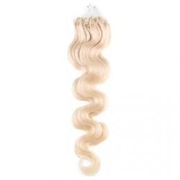 60cm Wellige Micro ring/easy loop haare REMY – platin