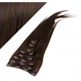 70cm REMY Clip In Haar - dunkelbraun