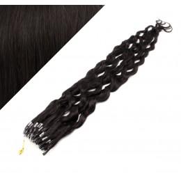 60 cm Lockige Micro Ring/easy loop haare REMY – schwarz natürlich