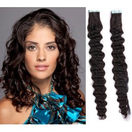"16"" (40cm) Tape Hair / Tape IN human REMY hair - black"