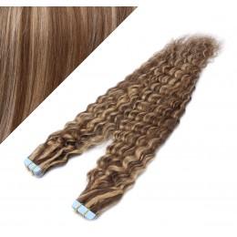 Lockige Tape in Haare 50cm - dunkle Strähnchen