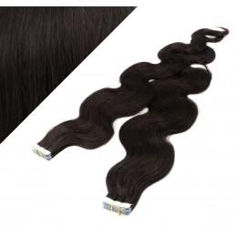 Wellige Tape in Haare 60cm - schwarz natürlich