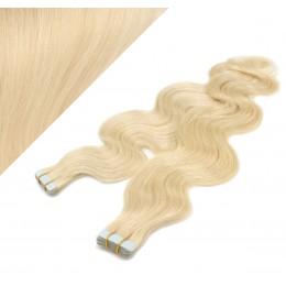Wellige Tape in Haare 60cm - weißblond