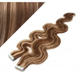 Wellige Tape in Haare 60cm - dunkle Strähnchen