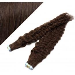 Lockige Tape in Haare 60cm - dunkelbraun