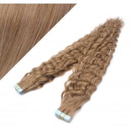 Lockige Tape in Haare 60cm - hellbraun