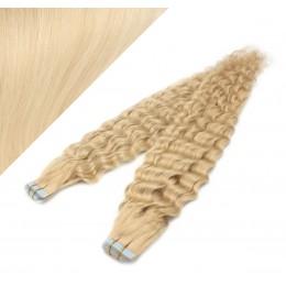 Lockige Tape in Haare 60cm - weißblond