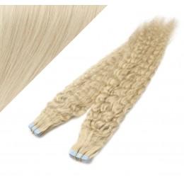 Lockige Tape in Haare 60cm - platin