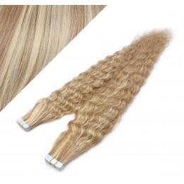 Lockige Tape in Haare 60cm - helle Strähnchen