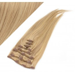 70cm REMY Clip In Haar - naturblond/hellblond