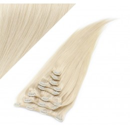 43cm REMY Clip In Haar 100g - platin