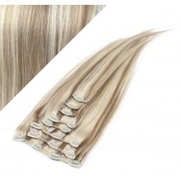 43cm REMY Clip In Haar 100g - platin/hellbraun