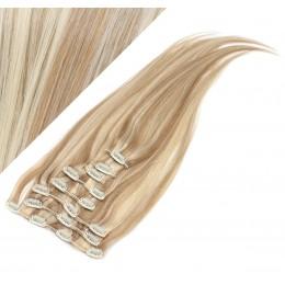 70cm REMY Clip In Haar - helle Strähnchen